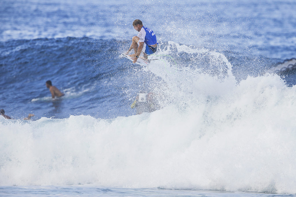 65ec73f920 3X World Champion Mick Fanning of Australia advances to Round Three of the  2017 Billabong Pipe Masters after winning Heat 10 of Round Two at Pipe