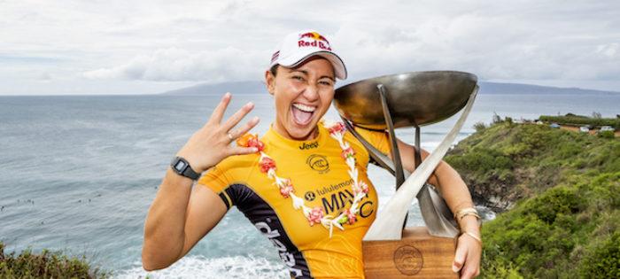 Carissa Moore vince il  quarto Titolo Mondiale di surf, Stephanie Gilmore vince il quinto lululemon Maui Pro Event